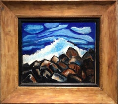 Rocks, Waves, Clouds (Seascape Painting in Antique Wooden Frame)
