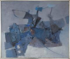Grey and Blue Abstract (Mid Century Modern, Cubist Style Oil Painting on Linen)
