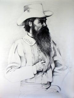 William Mahone (Large Black & White Ballpoint Pen Drawing of Civil War General)