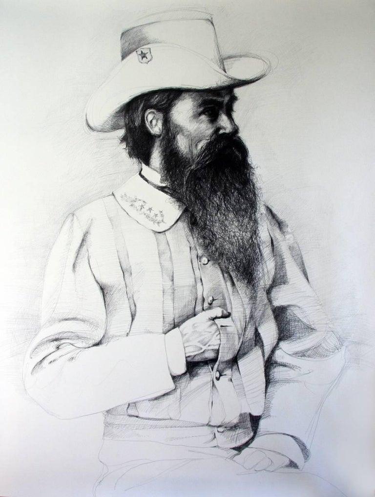 Linda Newman Boughton Figurative Art - William Mahone (Large Black & White Ballpoint Pen Drawing of Civil War General)