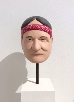 Willie Nelson (Carved Wooden bust of Willie Nelson on Pedestal w/ Red Bandanna)