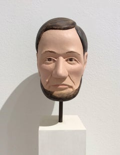Abe Lincoln (Carved Wooden Sculpture of Abe Lincoln's Bust on Pedestal)