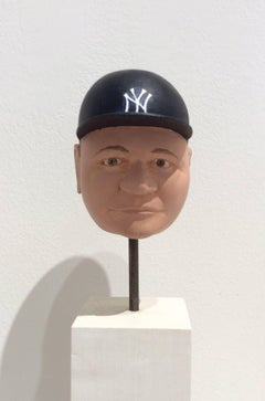 Babe Ruth (Carved Wooden Bust of Iconic Baseball Player Babe Ruth)