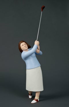 Right Down The Middle (Carved Wooden Sculpture of Female Golfer with Club)