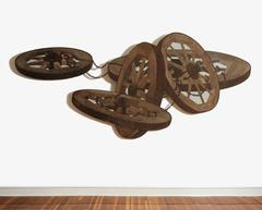 The Fettered Pride (Mixed Media Wooden Wheel Three Dimensional Wall Sculpture)