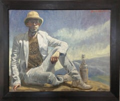 Boy in Pith Helmet (Figurative Oil Painting of Male in White Suit in Landscape)