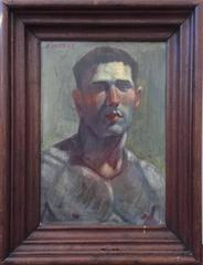 Portrait of a Male Figure (Small Oil Painting of Nude Male in Vintage Frame)