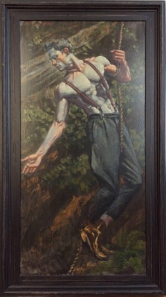 Climber (Portrait of a Male in Suspenders & Boots holding a rope in a Landscape)
