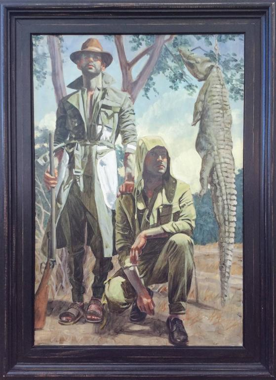 Mark Beard - Two Men With Crocodile Oil Painting Of -8617