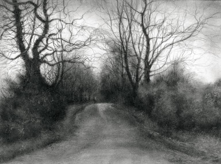 Sue Bryan Rural Road 7 Realistic Black And White