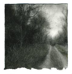 Rural Road 6: Realistic Charcoal & Green Pastel Framed Landscape Drawing