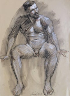 MB 825 A (Figurative Charcoal Drawing on Paper of Seated Male Nude)