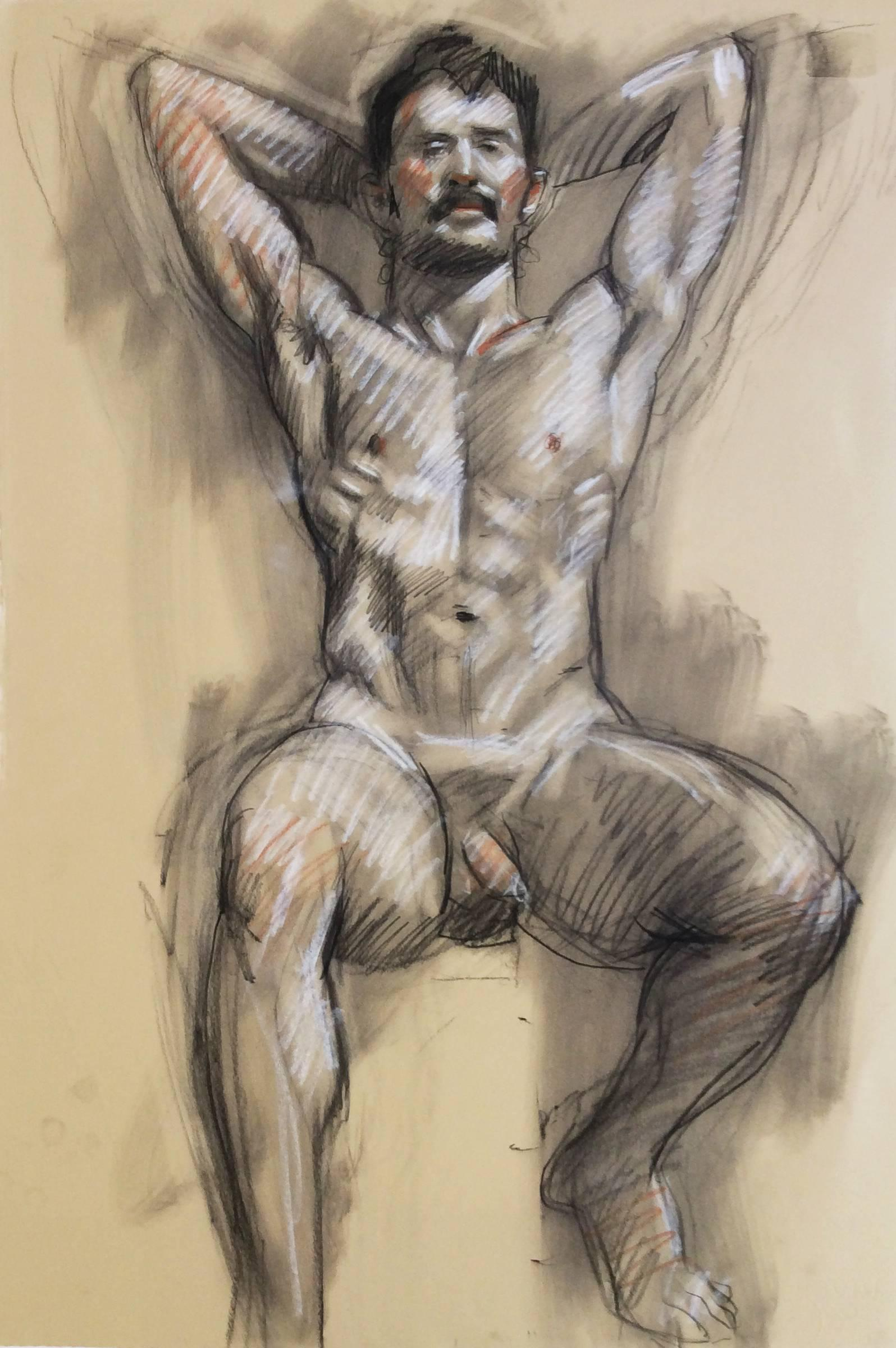 Mb 826 A (Figurative Charcoal Drawing of Male Nude on Arches Paper)