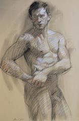 MB 819 A (Contemporary Tattooed Male Nude Figurative Drawing in Charcoal)