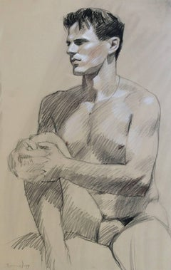MB 815 (Contemporary Seated Male Nude Figurative Drawing, Charcoal on Paper)