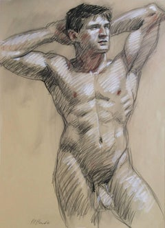 MB 821 A (Contemporary Male Nude Figurative Drawing, Charcoal on Paper)