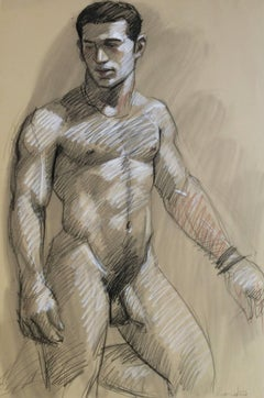 MB 820 B (Contemporary Academic Style Male Nude Figurative Drawing on Paper)