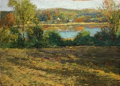 #5397 Rouse Pond: Impressionistic Country Landscape Painting of Pond & Greenry