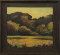 Field (Contemporary Landscape Painting c. 1980 on panel, artist made frame)