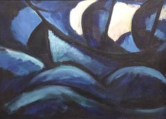 Blue Boat (Expressionist Style Oil Painting of Blue Boat on the Sea c. 1975)