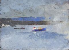 Blue (Nautical Landscape Painting of Mountains & Tug Boat on Hudson River)