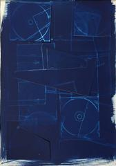 Untitled XXI (Contemporary Blue Cyanotype on Paper in Modern White Frame)