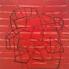 Hobgood (Abstract Red Encaustic Painting on Board with Black Geometric Patterns)