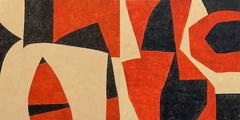 Duet (Red, Beige & Black Abstract Painting on Panel in Mid-Century Modern Style)