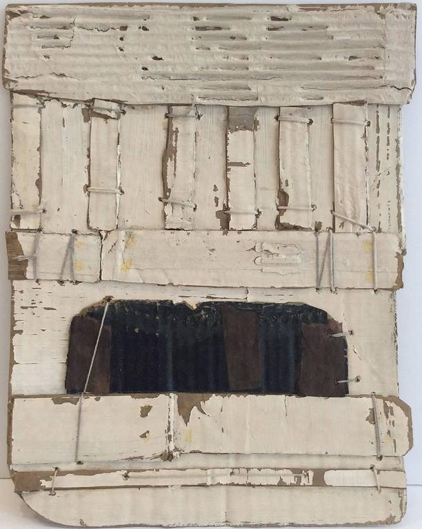 Russell DeYoung - Untitled White (Abstract, Framed Mixed Media Construction in Neo-Dada Style) 1