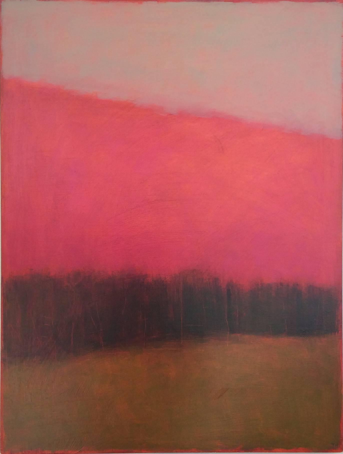 Rosy Hill (Contemporary, Minimal Abstract Landscape with Bright Magenta Skies)