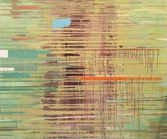 River of Gold (Contemporary Abstract, Veils of Chartreuse and Yellow)