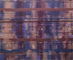 Tirtaggana (Contemporary Abstract Violet Painting on Stitched Raw Linen)