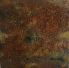 Adult Object #16 (Green and Rust Colored Abstract Enamel Painting on Metal)