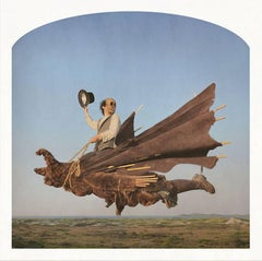 The Dark Rider: Modern Surrealist Photo, Skull Masked Man Flying Over Landscape