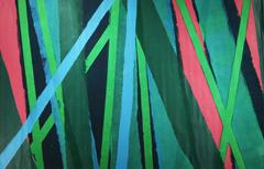 Untitled 80: 1970s Abstract Aqua & Green Large Vertical Stripe Painting