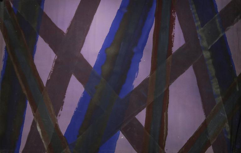 Untitled 043 (Abstract, Mid Century Modern Indigo and Purple Stripe Painting)