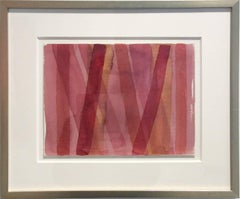 Untitled 209 (1960s Abstract Watercolor Painting in Pink and Red Stripes)