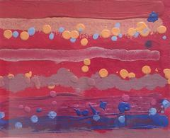 Untitled 250 (1970s Polka Dot Acrylic Painting on Paper in Red, Yellow, Blue)