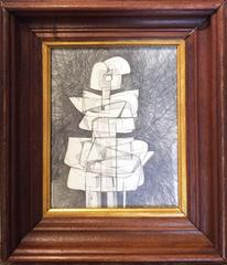 Infanta XXXIII (Abstract Cubist Drawing on Paper in Vintage Wood Frame)