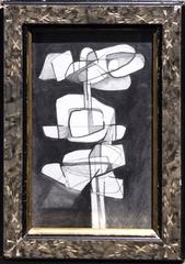 Infanta XX (Abstract Cubist Style Modern Drawing on Paper in Vintage Frame)