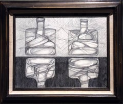Two Morandi Bottles: Abstract Cubist Style, Modern Drawing in Vintage Wood Frame