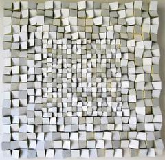 Facets (Neutral Abstract Mid-Century Modern 3D Wooden Wall Sculpture)