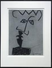 Untitled No. 25 (Cubist Black Charcoal & Grey Abstract Portrait in Black Frame)