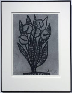 Untitled No. 28 (Cubist Black & Grey Charcoal Abstracted Flowers in Black Frame)