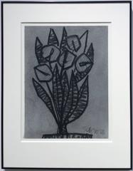 Untitled No. 28 (Modern Black & Grey Charcoal Abstracted Flowers in Black Frame)