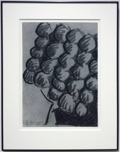 Untitled No. 26 (Modern Black & Grey Abstract Fruit Drawing in Black Frame)