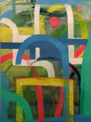Blue Arc (Bold Contemporary Abstract Vertical Painting in Blue, Yellow & Green)