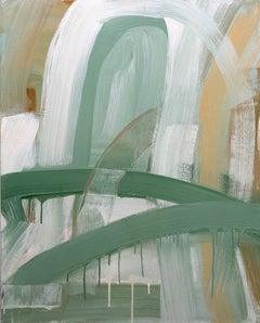 Doorway (Contemporary Gestural Vertical Abstract Painting in Pastel Palette)