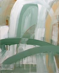 Doorway (Contemporary Gestural Vertical Abstract Painting in Pastel Palette)