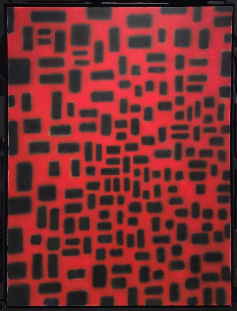 Stephen Brophy Abstract Painting - Red Convergence (Modern, Abstract Geometric Red & Black Painting in Black Frame